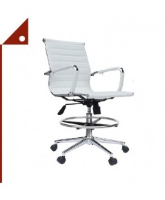 2xhome : 2XHAMZ001* เก้าอี้ทำงาน Modern Ergonomic PU Leather Mid Back Chair, White