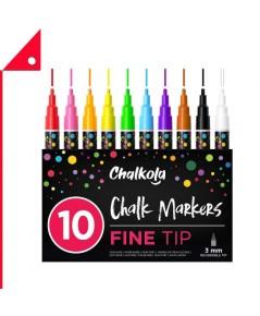 Chalkola : CKLEL1264* ชอล์กมาร์คเกอร์ Fine Tip Chalk Markers 10 Color
