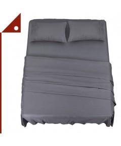 Utopia : UTPUB0249* ชุดผ้าปูที่นอน Bedding Bed Sheet Set - 4 Piece Full Size, Grey