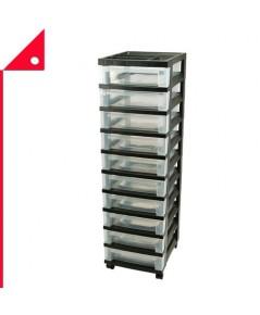 IRIS USA : IRU 585650* ชั้นเก็บเอกสาร 10-Drawer Storage Cart with Organizer Top, Black