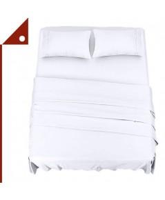 Utopia : UTPUB0262* ชุดผ้าปูที่นอน  Bedding Bed Sheet Set - 4 Piece King Size, White