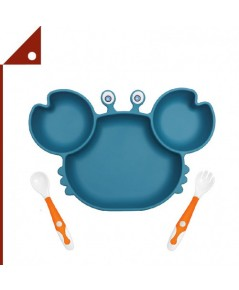 YIVEKO : YVK2020-3* Baby Plates with Suction Divided, Crab Blue