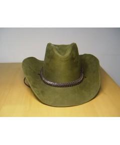 หมวกคาวบอยหนังแท้ สีเขียวทหาร สภาพดี