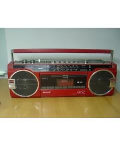 วิทยุ-เทป Sharp QT27 แบบหูหิ้วสีแดง ใช้งานได้ปกติทุกระบบ