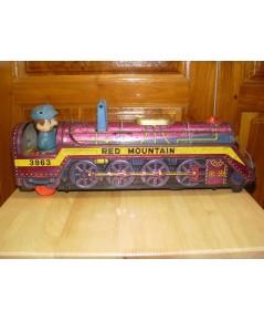 รถไฟสังกะสีแบตเตอรี่ RED MOUNTAIN 3963 งานญี่ปุ่นแท้ ของเล่นโบราณ