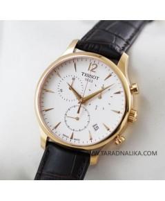 นาฬิกา TISSOT Tradition Chronograph rose gold T063.617.36.037.00 สายหนัง