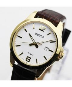 นาฬิกา SEIKO ควอทซ์  Gent SUR252P1 เรือนทองสายหนัง
