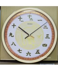 นาฬิกาแขวนมงคล ภาษาจีน SEIKO QXA741G ขนาด 16 นิ้ว ขอบทอง