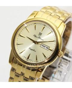 นาฬิกา Olym pianus sapphire 5672M-406E เรือนทอง หน้าปัดทอง