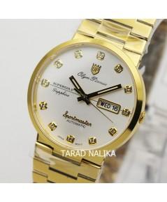 นาฬิกา Olym pianus sportmaster automatic sapphire 8909AM-434 เรือนทอง หน้าปัดขาว หลักพลอย