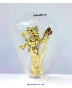 จี้ห้อยคอพระตรีมูลติชุบทองกรอบพลาสติกกันน้ำสูง4.5ซม.กว้าง3ซม.