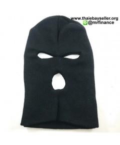 หมวกไอ้โม่งไหมพรม 3 รู สีดำ