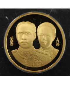 เหรียญร.5 ที่ระลึกครบรอบ100ปี โรงเรียนพยาบาลผดุงครรภ์และอนามัยศิริราช เนื้อทองคำ ปี2539 พิมพ์เล็ก