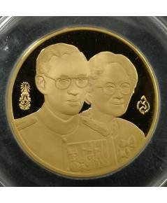 เหรียญในหลวงคู่สมเด็จย่า ปี2538 สร้างอาคารนครินทรศรี สภาการพยาบาล เนื้อทองคำขัดเงา พร้อมกล่อง