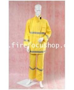 ชุดซ้อมดับเพลิง แบบเสื้อและกางเกง ผ้า Dale Antiflame เคลือบสารกันไฟ ได้มาตราฐาน