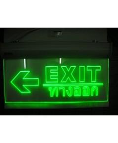 ป้ายลูกศรชี้ซ้าย Exit/ทางออก หน้าเดียวชนิด LED Slimline 2 ชม.รุ่น F5