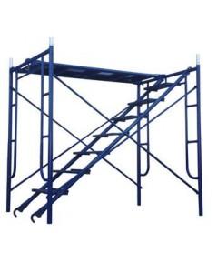 นั่งร้านสีน้ำเงิน 1 ชั้น สูง 1.7 เมตรพร้อมแผ่นทางเดิน 1 แผ่นและบันได 1 อัน รุ่น มาตรฐาน+แผ่นทางเดิน+