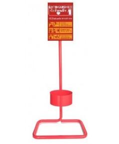 ที่วางถังดับเพลิงแบบถังเดี่ยววัสดุเหล็กสีดำหรือแดงพร้อมป้ายอลูมิเนียม 20x30 cm.