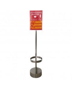 ที่วางถังดับเพลิงชนิดถังเดียววัสดุสแตนเลสพร้อมป้ายอลูมิเนียม 20x30 cm.