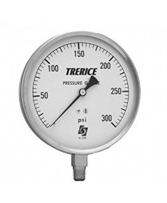 TRERICE Pressure Gauge Model 620B case size 4-1/2 inch. , stainless steel case, 1/4 inch., NPT,
