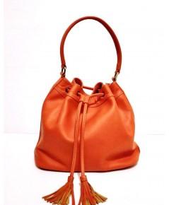 กระเป๋าหนังวัวแท้ Tlux item NT023L สีส้ม
