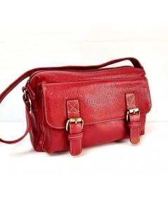 กระเป๋าหนังวัวแท้ Tlux item QE002R   สีแดง