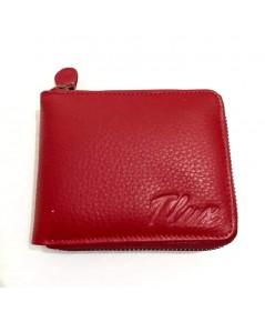 กระเป๋าสตางค์หนังวัวแท้ Tlux item No.56  สีแดงสด
