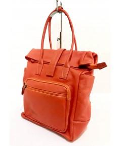 กระเป๋าเป้หนังวัวแท้ Tlux item ZH023  สีส้ม