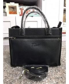 กระเป๋าหนังวัวแท้ Tlux item QH00 Size M สีดำ