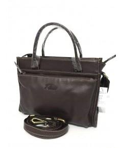 กระเป๋าหนังวัวแท้ Tlux item QH00 Size M สีน้ำตาล