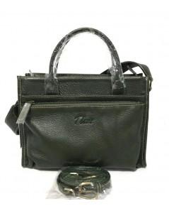 กระเป๋าหนังวัวแท้ Tlux item QH00 Size M สีเขียวเข้ม
