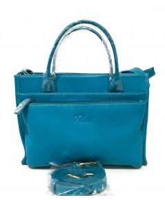 กระเป๋าหนังวัวแท้ Tlux item QH00 Size M สีฟ้า