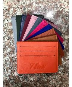 กระเป๋าใส่บัตรหนังวัวแท้ Tlux item No.01 สีส้ม
