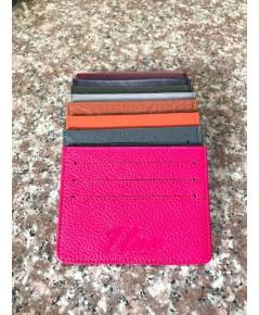 กระเป๋าใส่บัตรหนังวัวแท้ Tlux item No.01 สีชมพูเข้ม