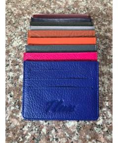 กระเป๋าใส่บัตรหนังวัวแท้ Tlux item No.01 สีน้ำเงิน