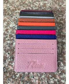 กระเป๋าใส่บัตรหนังวัวแท้ Tlux item No.01 สีชมพูอ่อน