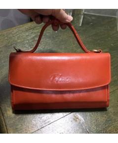 กระเป๋าสตางค์หนังวัวแท้ Tlux item No.68 สีส้ม