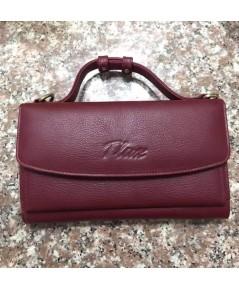กระเป๋าสตางค์หนังวัวแท้ Tlux item No.68 สีแดง