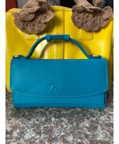 กระเป๋าสตางค์หนังวัวแท้ Tlux item No.68 สีฟ้า
