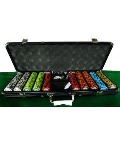 Super Black Aluminium Case + CASINO ROYAL 500 Pcs ชิพโป้กเกอร์ poker chip