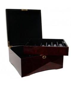 กล่องใส่เหรียญคาสิโนไม้ Mahogany สีน้ำตาล 750 เหรียญ