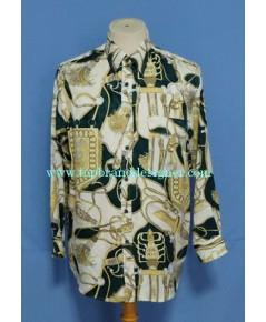 เสื้อผ้าไหม Eagle Panther Silk Tassel Print Men Used Designer Shirt M