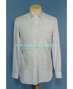 เสื้อเชิ้ต Borrelli Napoli Italy Made Men Dress shirt Used Designer Plaid 15-33