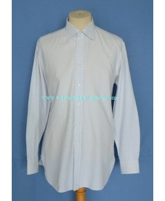 เสื้อแบรนด์หรู Brioni Italy Made Men Used Designer Shirt Plaid 16.5-35
