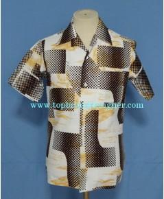 เสื้อฮาวายมือสองผ้าใยสับปะรด PALM BEACH Selvage Men Hawaiian Shirt Ship/ Polka Dots Print S