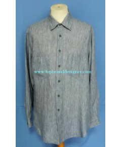 เสื้ออาร์มานี่ GIORGIO ARMANI Linen Men Dress Shirt Used Designer Stripes 17-34