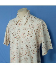 เสื้อเชิ้ต TRUSSARDI Cotton Silk Men Used Designer Shirt Circle Print 5