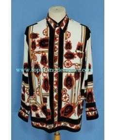เสื้อเชิ้ตลายบาร็อค Pierre Pacha Men Used Designer Shirt Belt Baroque Print 100