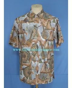 เสื้อฮาวาย Vintage Kahala Aloha Hawaiian Shirt Reverse Fabric Horoscope Printed S
