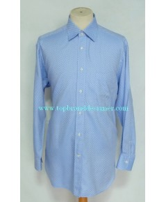 เสื้อทำงาน Ermenegildo Zegna Men Dress Shirt Used Designer Plaid 16.5-34